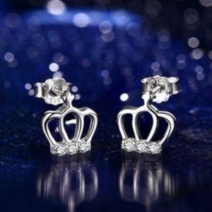 NEW Sterling Silver diamond Crown Stud Earrings
